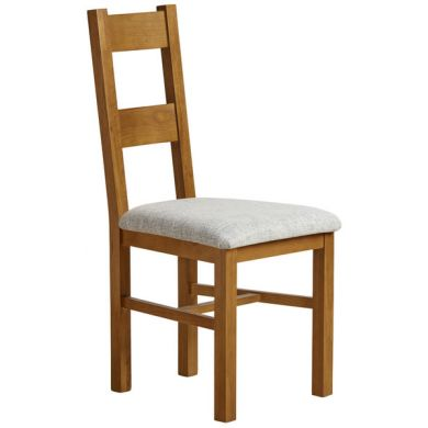 Farmhouse Rustic Solid Oak and Grey Plain Fabric Dining Chair
