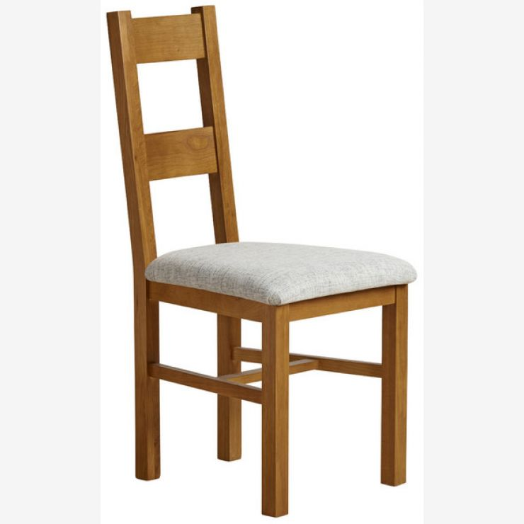 Farmhouse Rustic Solid Oak and Grey Plain Fabric Dining Chair - Image 3
