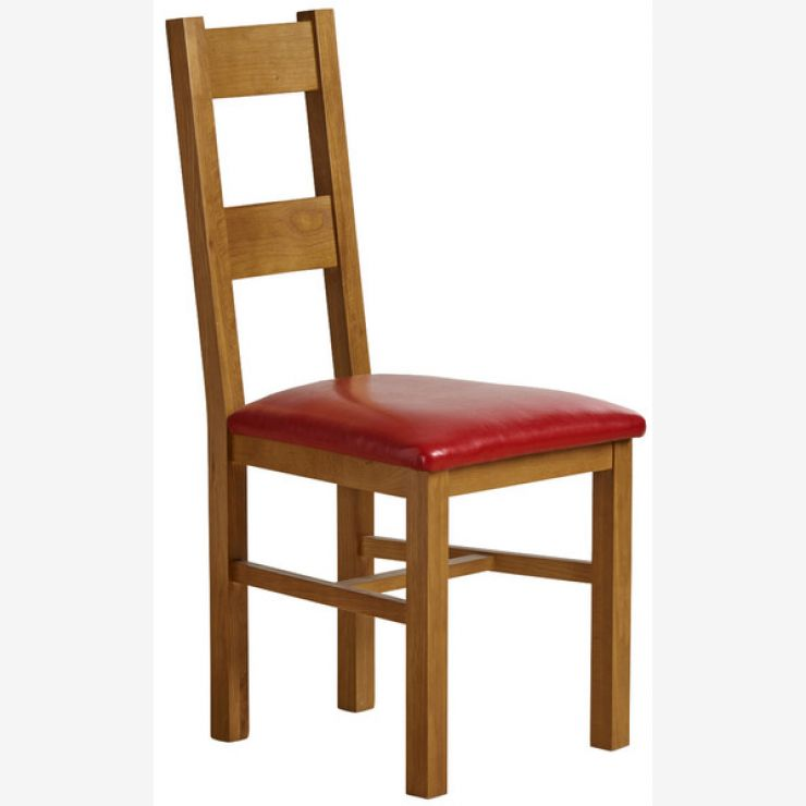 Farmhouse Rustic Solid Oak and Red Leather Dining Chair