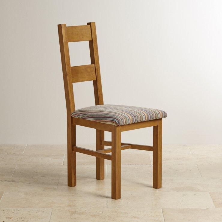 Farmhouse Rustic Solid Oak and Striped Multi-coloured Fabric Chair