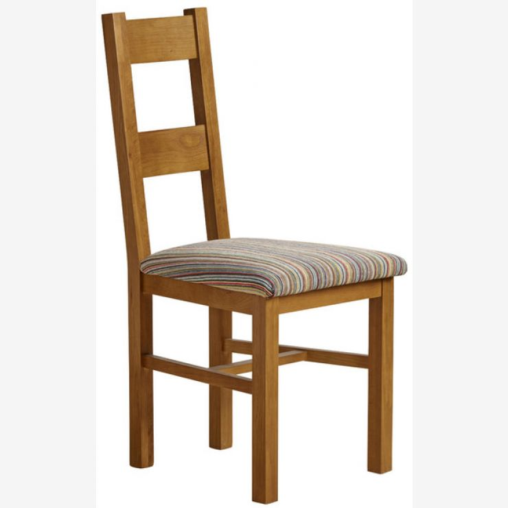 Farmhouse Rustic Solid Oak and Striped Multi-coloured Fabric Chair - Image 4