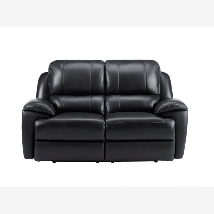 Finley 2 Seater Sofa with 2 Electric Recliners - Black Leather - Image 4