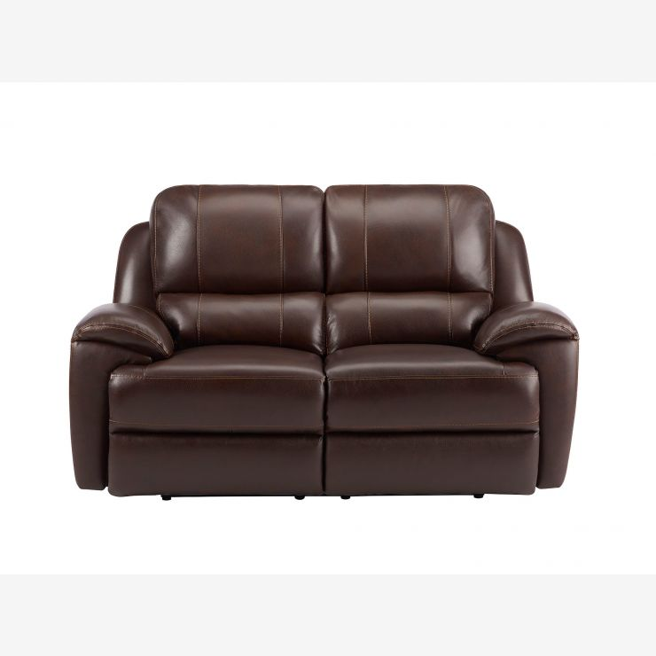 Finley 2 Seater Sofa with 2 Electric Recliners - Brown Leather - Image 6