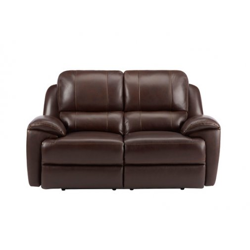 Finley 2 Seater Sofa with 2 Electric Recliners - Brown Leather