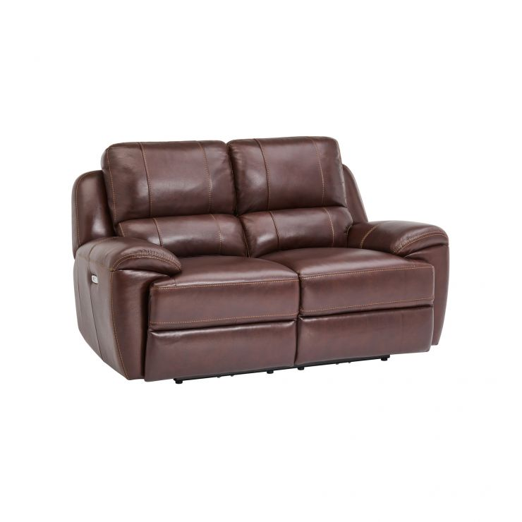 Finley 2 Seater Sofa with 2 Electric Recliners & Headrest - Two Tone Brown Leather