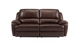 Finley 3 Seater Sofa with 2 Electric Recliners - Brown Leather image