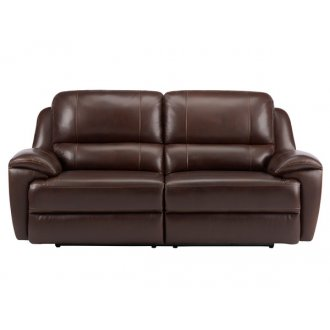 Finley 3 Seater Sofa with 2 Electric Recliners - Brown Leather