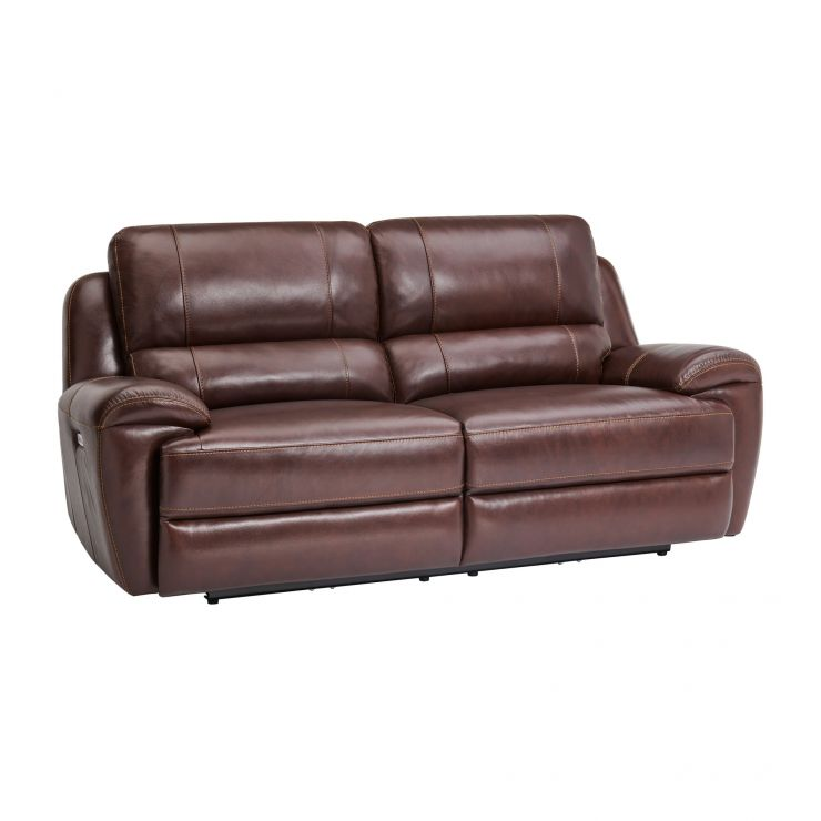 Finley 3 Seater Sofa with 2 Electric Recliners & Headrest - Two Tone Brown Leather