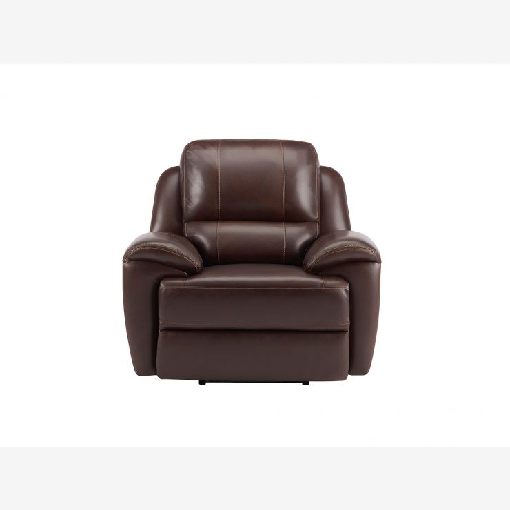 Finley Armchair with Electric Recliner - Brown Leather - Image 4