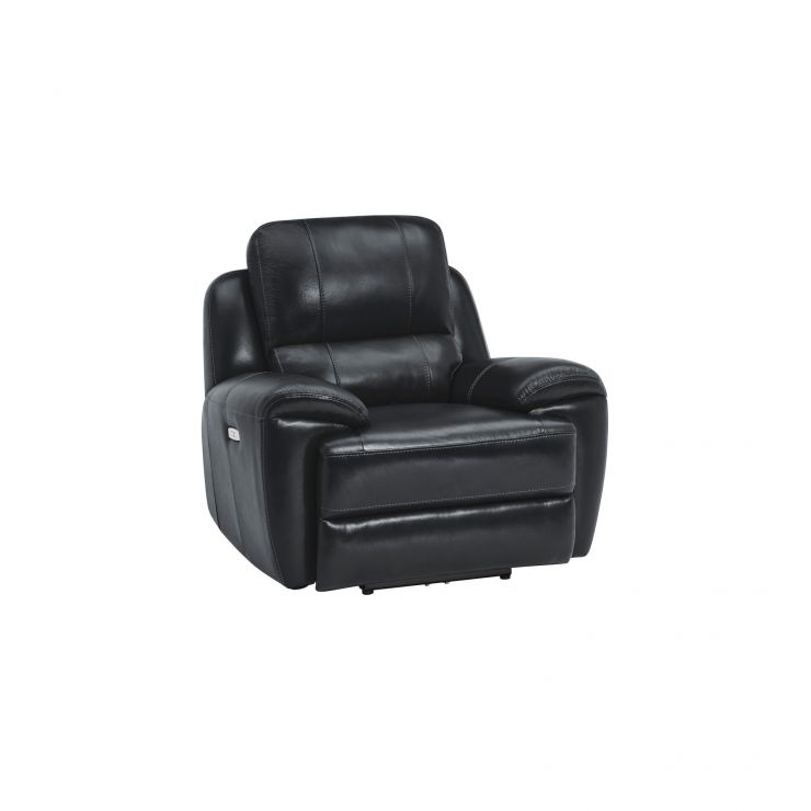 Finley Armchair with Electric Recliner & Headrest - Black Leather - Image 9