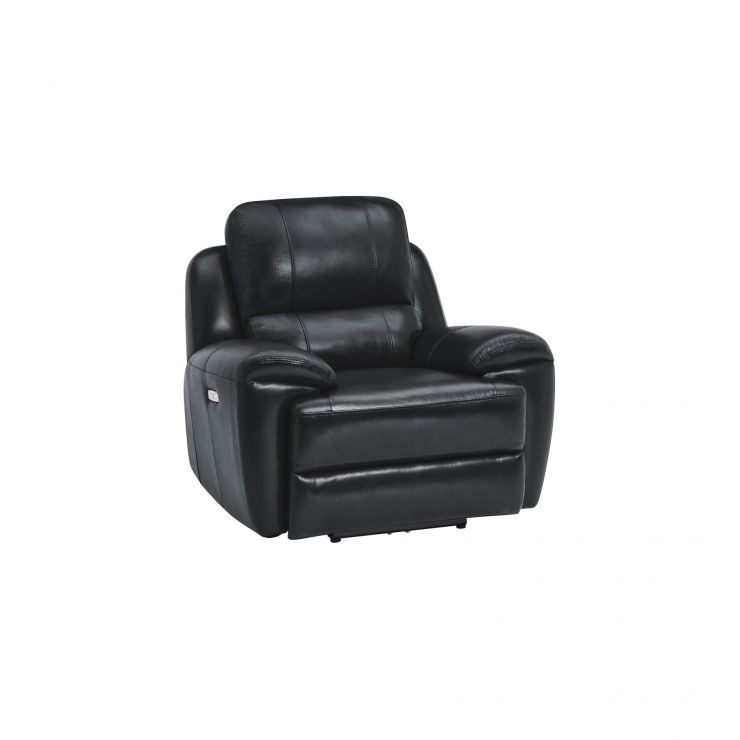 Finley Armchair with Electric Recliner & Headrest - Black Leather
