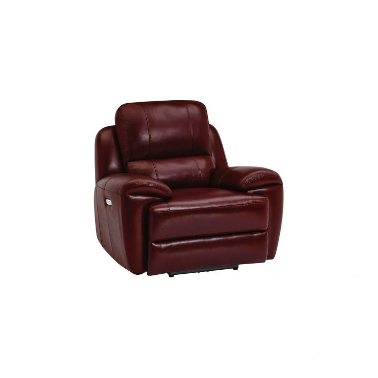 Finley Armchair with Electric Recliner & Headrest - Burgundy Leather