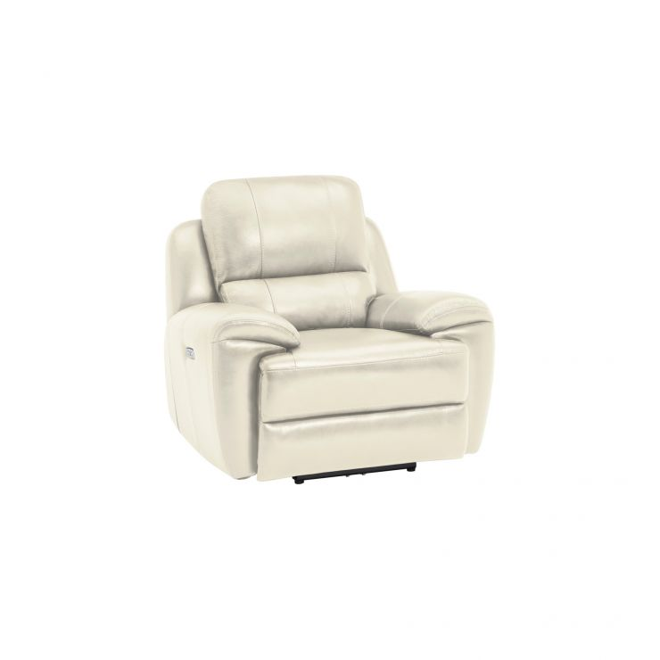 Finley Armchair with Electric Recliner & Headrest - Cream Leather
