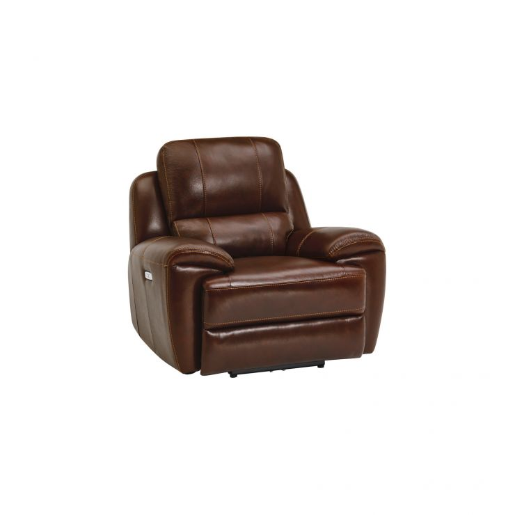 Finley Armchair with Electric Recliner & Headrest - Tan Leather
