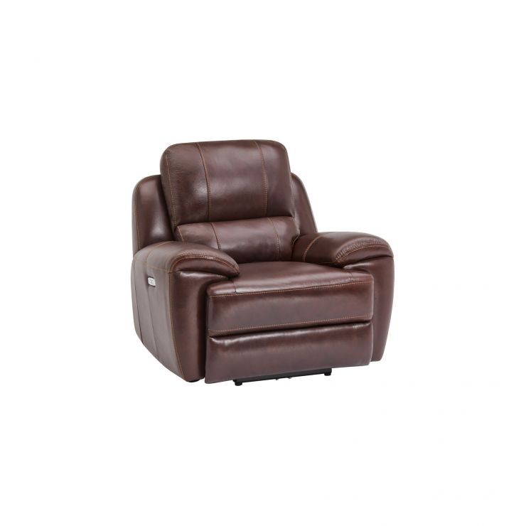 Finley Armchair with Electric Recliner & Headrest - Two Tone Brown Leather - Image 10