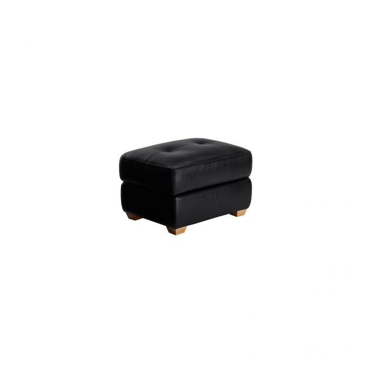 Finley Storage Footstool - Black Leather