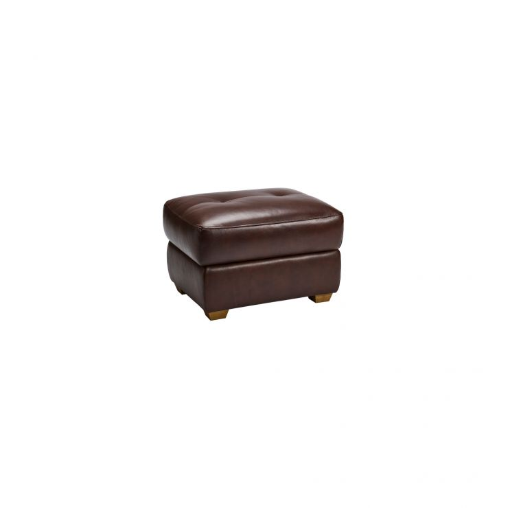 Finley Storage Footstool - Two Tone Brown Leather