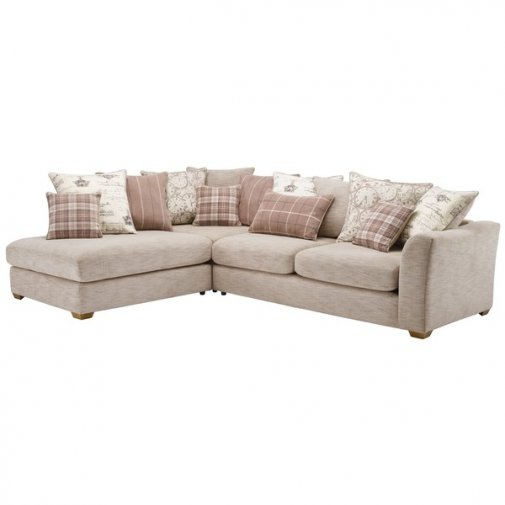 Florence Corner Pillow Back Sofa Right Hand in Beige with Beige Scatters
