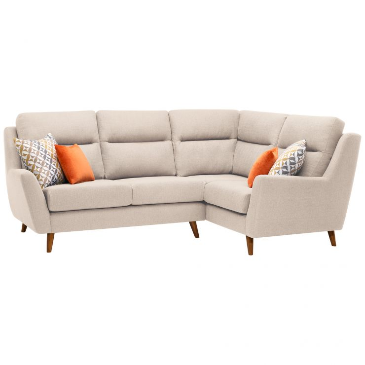 Fraser Left Hand Corner Sofa in Icon Fabric - Ivory - Image 1