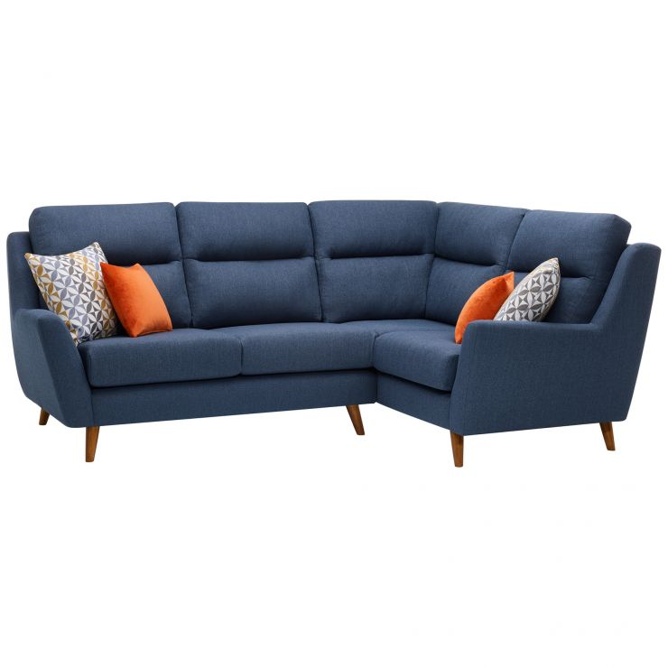 Fraser Left Hand Corner Sofa in Icon Fabric - Blue - Image 10