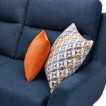 Fraser Left Hand Corner Sofa in Icon Fabric - Blue - Thumbnail 7