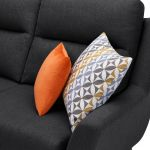 Fraser Left Hand Corner Sofa in Icon Fabric - Charcoal - Thumbnail 6
