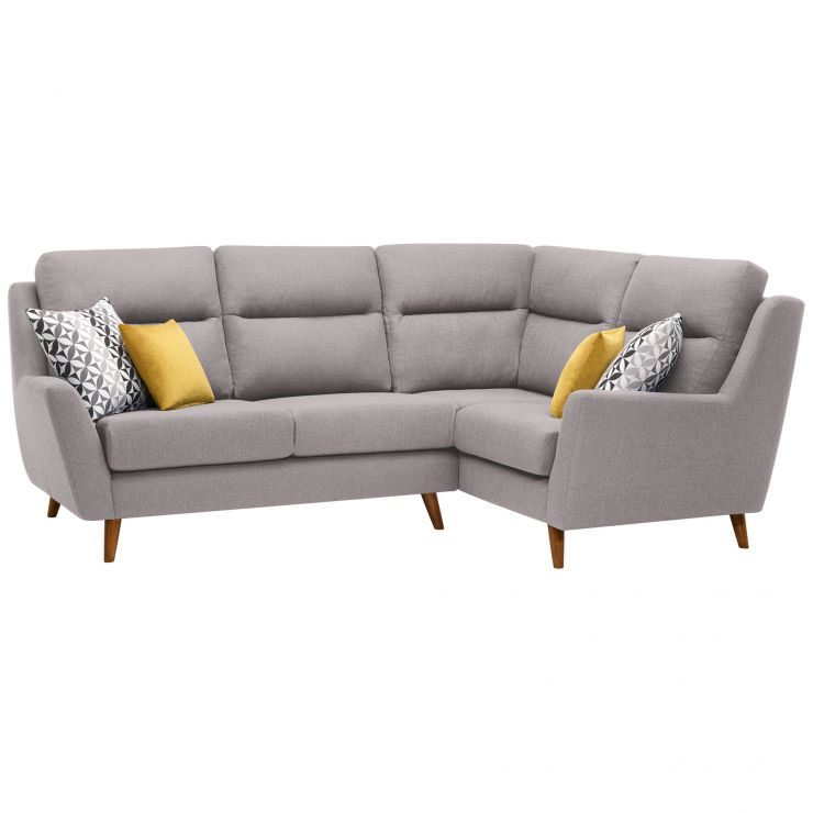 Fraser Left Hand Corner Sofa in Icon Fabric - Silver - Image 10