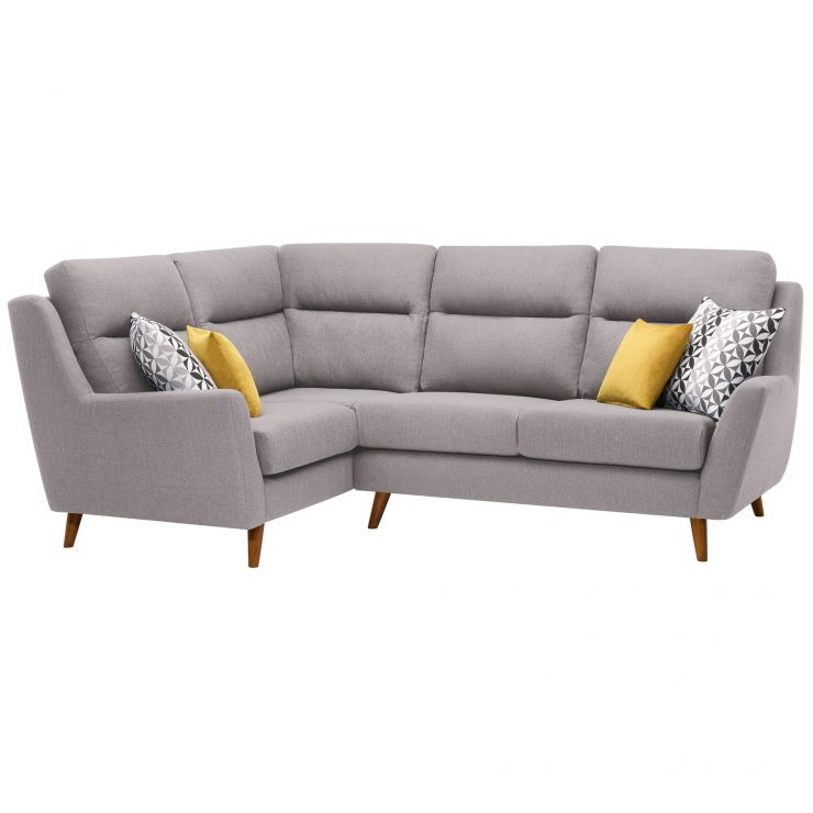 Fraser Right Hand Corner Sofa in Icon Fabric - Silver - Image 1