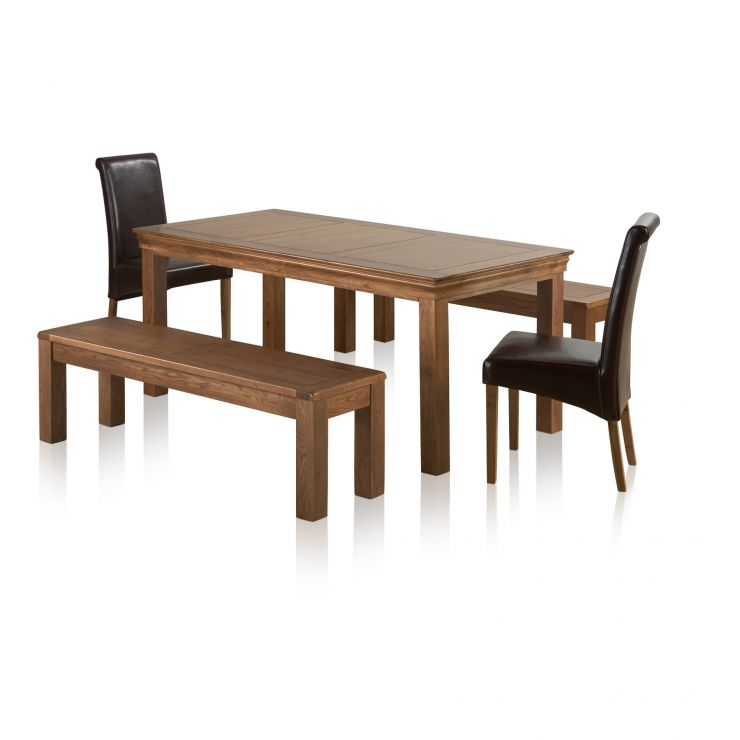 "French Farmhouse Rustic Oak Dining Set - 6ft Table with 2 x 4ft 11"" Benches and 2 x Scroll Back Brown Leather Chairs - Image 1"