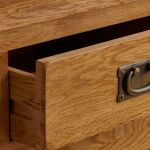 French Farmhouse Rustic Solid Oak 2 Drawer Bedside Table - Thumbnail 5