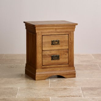 French Farmhouse Rustic Solid Oak 2 Drawer Bedside Table