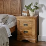 French Farmhouse Rustic Solid Oak 2 Drawer Bedside Table - Thumbnail 3