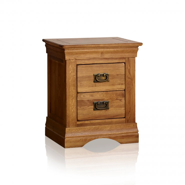 French Farmhouse Rustic Solid Oak 2 Drawer Bedside Table - Image 6