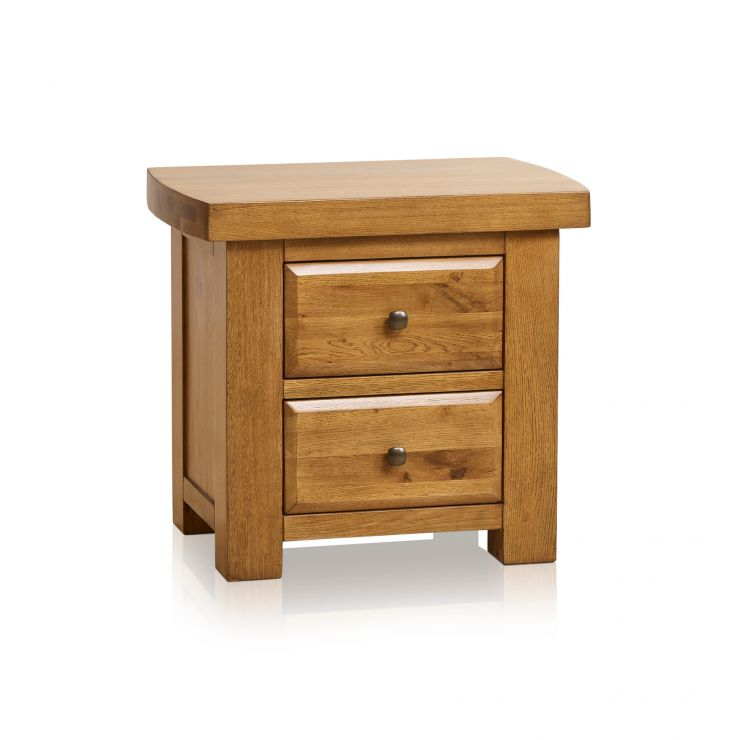 Hercules Rustic Solid Oak 2 Drawer Bedside Table - Image 7