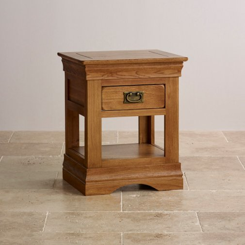 French Farmhouse Rustic Solid Oak 1 Drawer Bedside Table