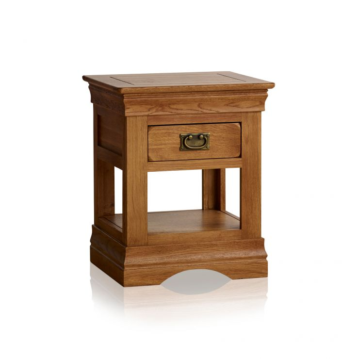 French Farmhouse Rustic Solid Oak 1 Drawer Bedside Table - Image 5