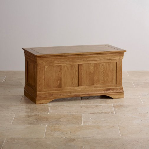French Farmhouse Rustic Solid Oak Blanket Box