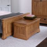 French Farmhouse Rustic Solid Oak Blanket Box - Thumbnail 3