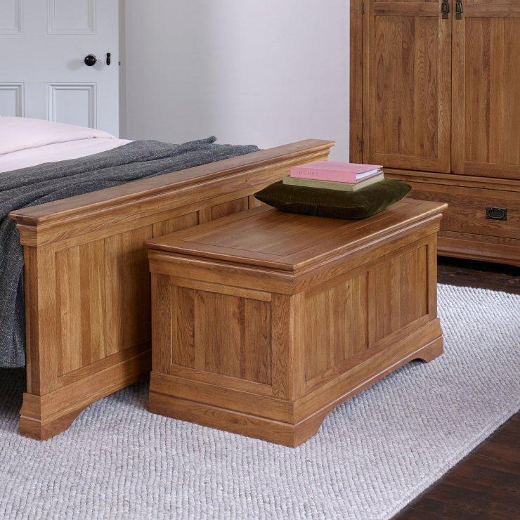 French Farmhouse Rustic Solid Oak Blanket Box
