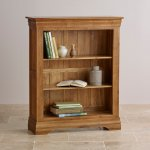 French Farmhouse Rustic Solid Oak Small Bookcase - Thumbnail 2
