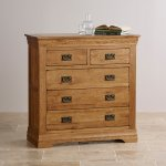 French Farmhouse Rustic Solid Oak 3+2 Drawer Chest - Thumbnail 2