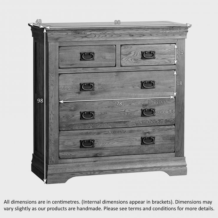 French Farmhouse Rustic Solid Oak 3+2 Drawer Chest