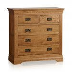 French Farmhouse Rustic Solid Oak 3+2 Drawer Chest - Thumbnail 1