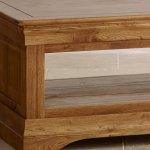 French Farmhouse Rustic Solid Oak Coffee Table - Thumbnail 4