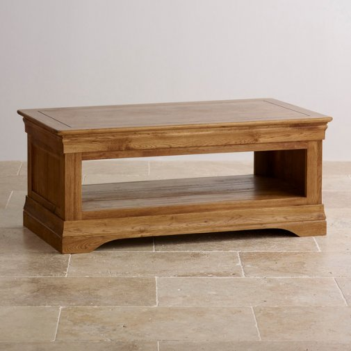 French Farmhouse Rustic Solid Oak Coffee Table