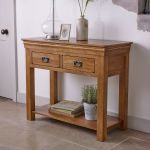French Farmhouse Rustic Solid Oak Console Table - Thumbnail 3