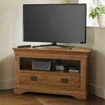 French Farmhouse Rustic Solid Oak Corner TV Cabinet - Thumbnail 3