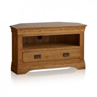 French Farmhouse Rustic Solid Oak Corner TV Cabinet