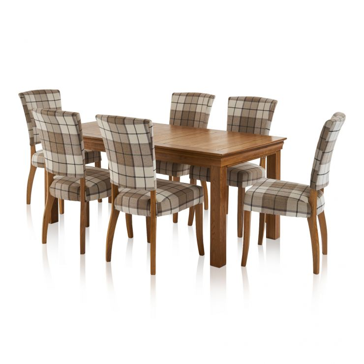 French Farmhouse Dining Set - 6ft Table with 6 Check Brown Upholstered Curve Back Chairs