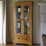 French Farmhouse Rustic Solid Oak Display Cabinet - Thumbnail 2